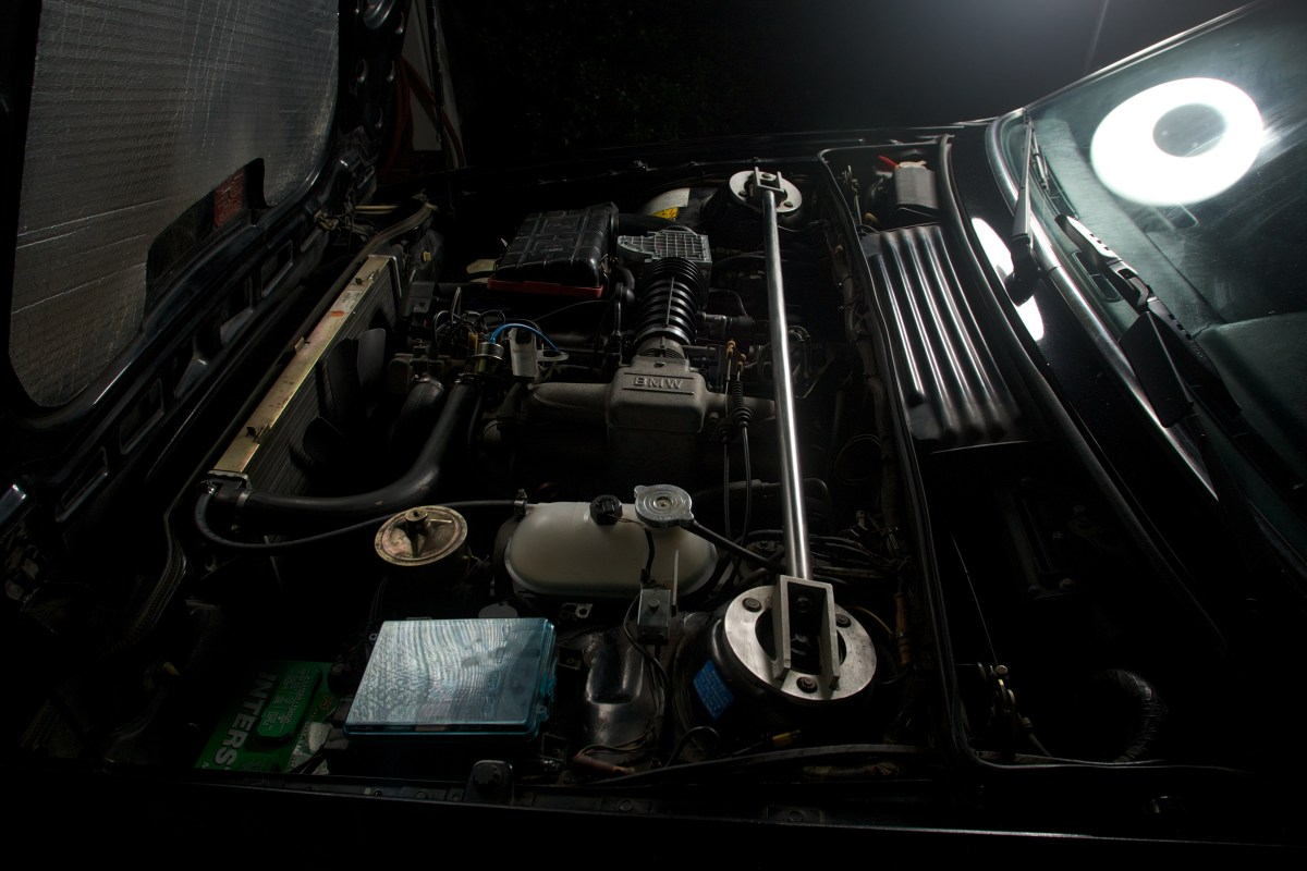 Beauty shot of the engine compartment of a 1987 BMW 635CSi
