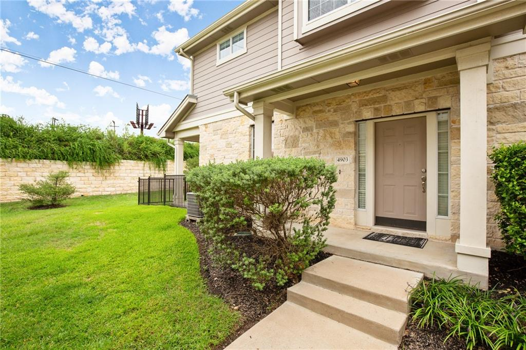 OPEN HOUSE SATURDAY, 9/26 AT 12-2.   Location, location, location! Popular Provence floor plan in Scofield Ridge condos. Very desirable, gated community in north Austin. 2 beds/2.5 baths, 1550 sqft.  Flex space (office) upstairs between bedrooms. Both bedrooms upstairs. New carpet (9/2020) and was owner occupied. Small, fenced in backyard maintained by HOA. Covered patio. 1 mile from 35 and Mopac, last Free exit before toll, 5 mins to Domain shopping & nightlife. Metro rail and numerous employers nearby. Strong HOA reserves. HOA incl. water usage and trash pick-up. Gym, clubhouse, pool.