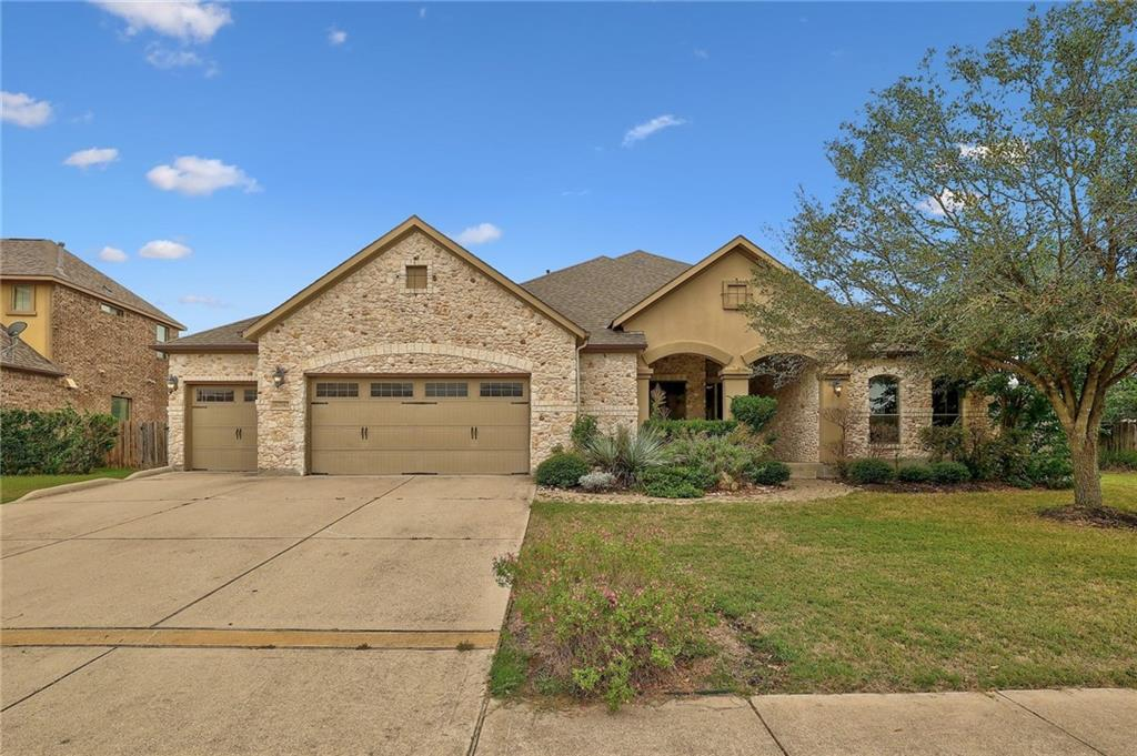Offer deadline Wednesday, 10/20 at 6:00 pm. Beautiful 1-story home in Behrens Ranch that offers 3 bedrooms, 2.5 baths, and a separate study. Huge lot (0.45 acre)! 3-car garage. Large living room opens to kitchen and dining areas. Kitchen features granite counter tops, ss appliances, cooktop stove, island, separate breakfast counter, and 2 dining areas. Beautiful tile, hardwood, and carpet throughout. Generous size bedrooms, primary bedroom includes bathroom suite, double vanities, walk-in shower, and walk-in closet. Exceptional RRISD schools!!!