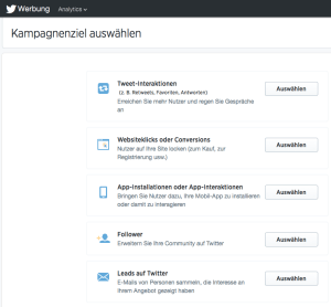 Twitter Ads Kampagnenziele