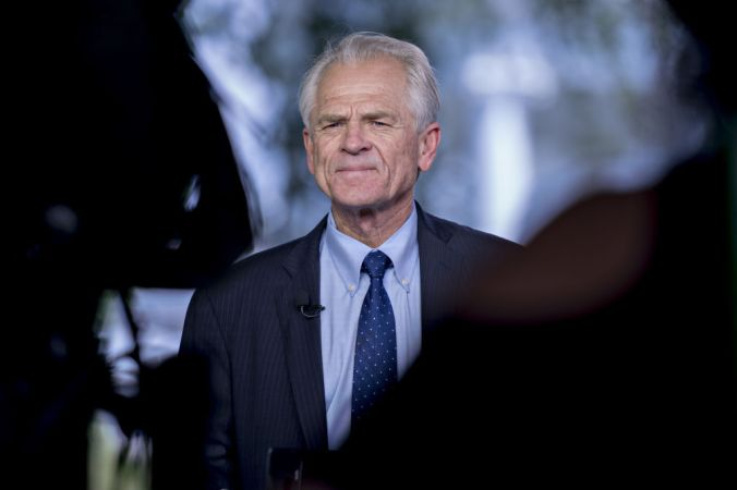 Peter Navarro, director of the National Trade Council, pauses during a television interview outside the White House in Washington, D.C., U.S., on Friday, May 31, 2019.