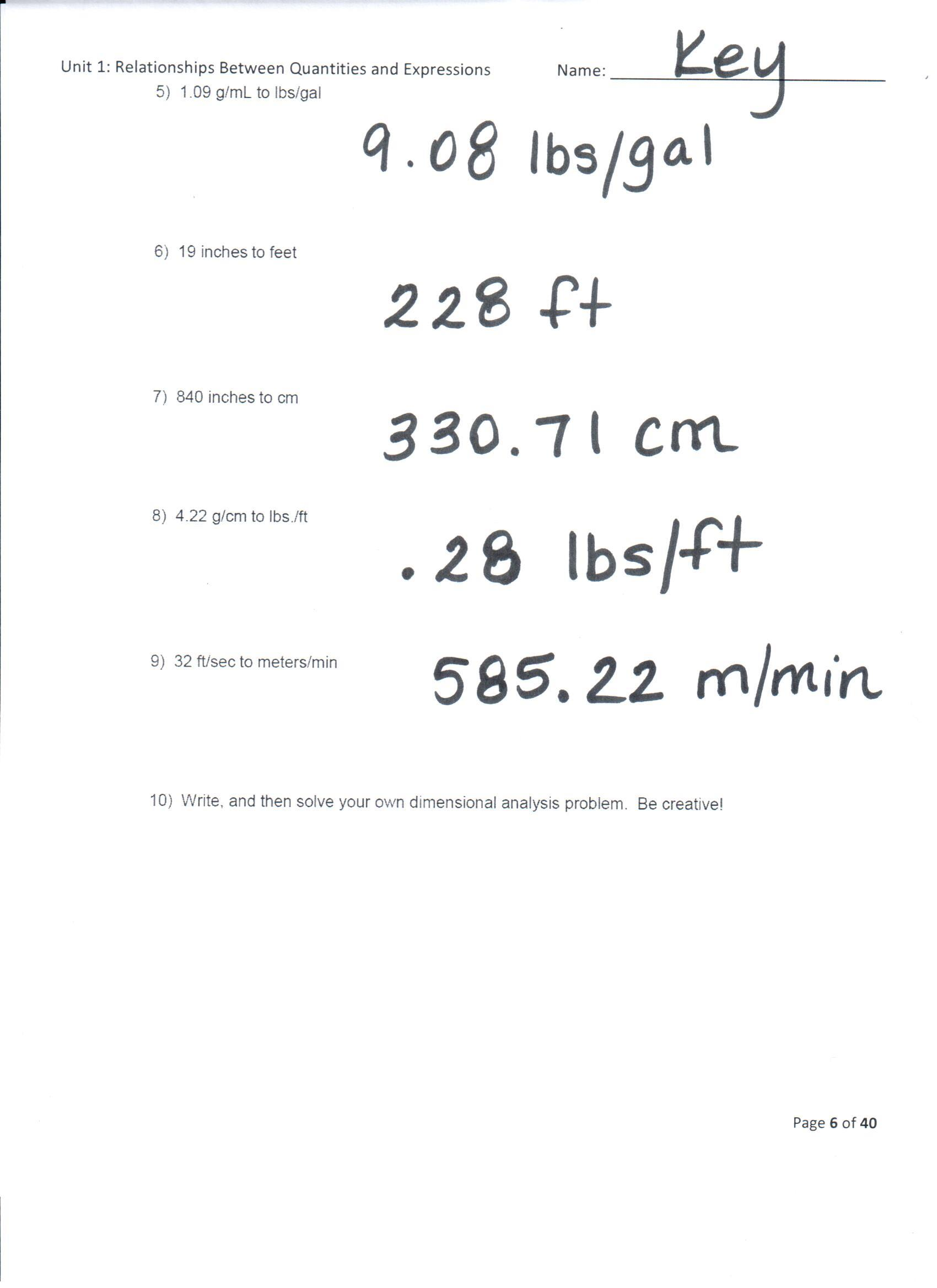 Chemistry Conversion Problems Worksheet