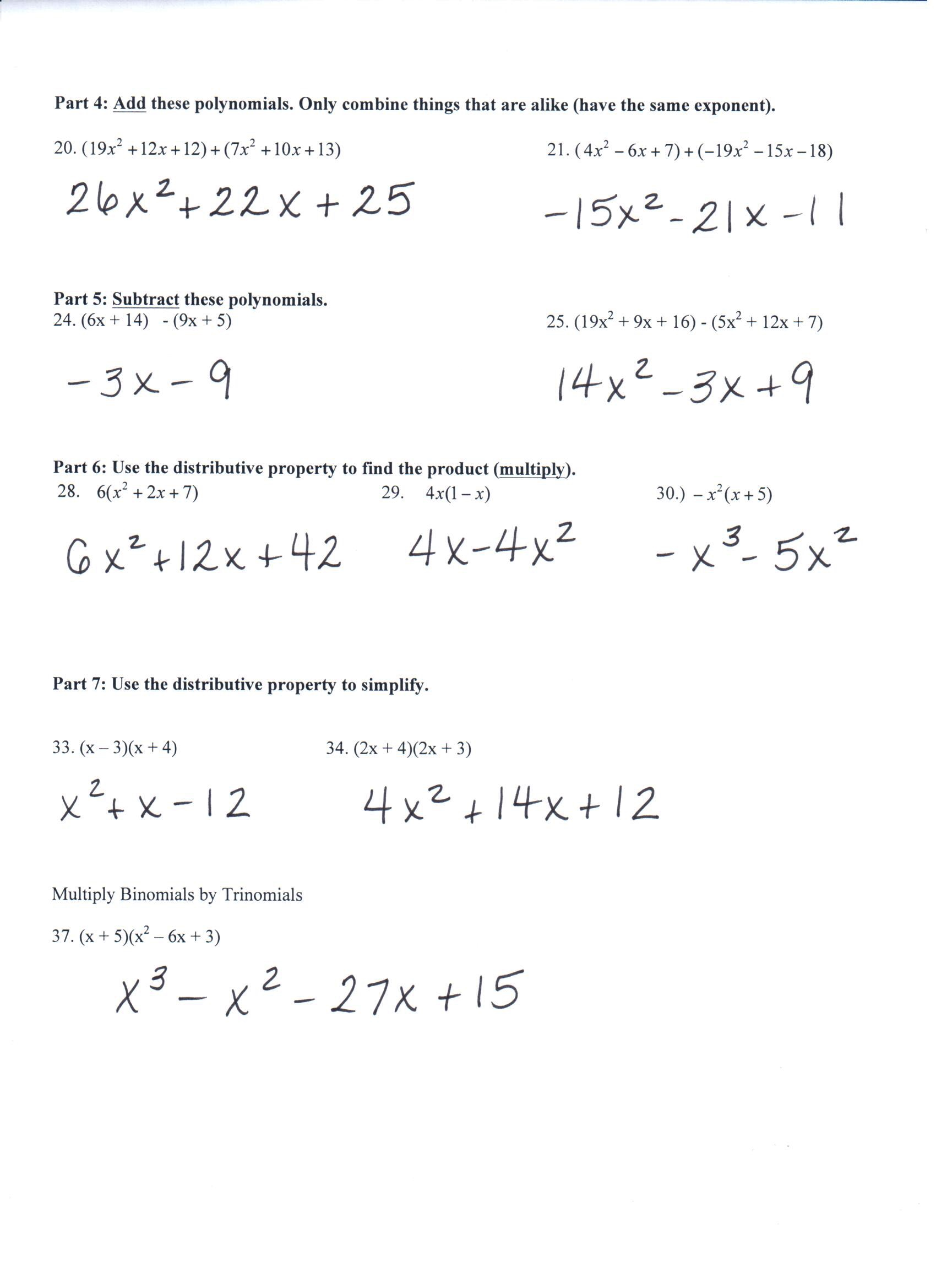 Multiplying Polynomials Quiz With Answers