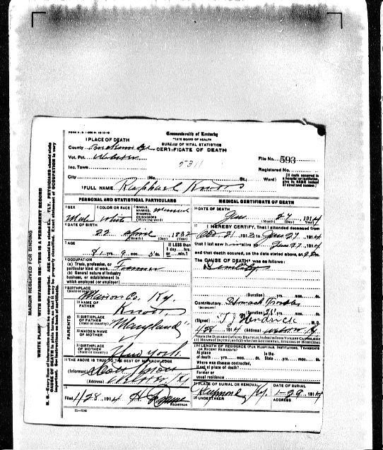 Raphael Knott death certificate