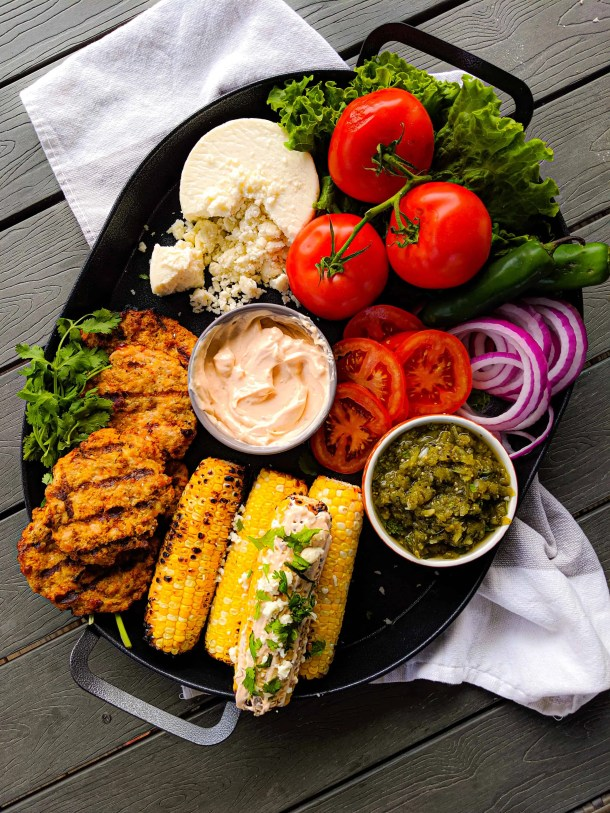 Southwestern turkey burger platter with toppings