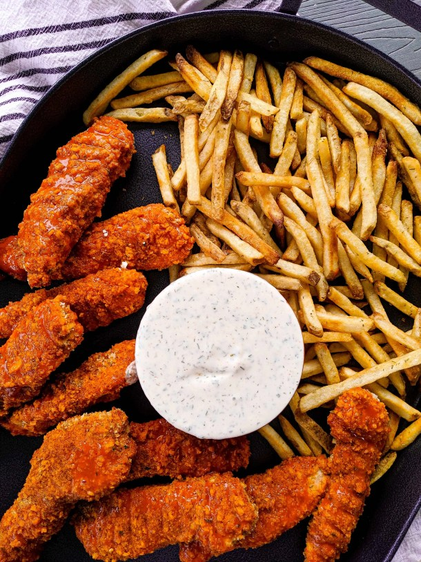 Healthy Buffalo Chicken Tenders with Homemade Ranch