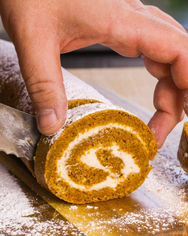 Low Sugar Pumpkin Roll with Maple Cream Cheese Filling