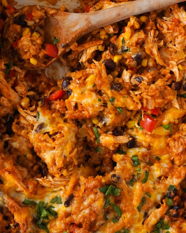 Healthy Enchilada Casserole with Rice