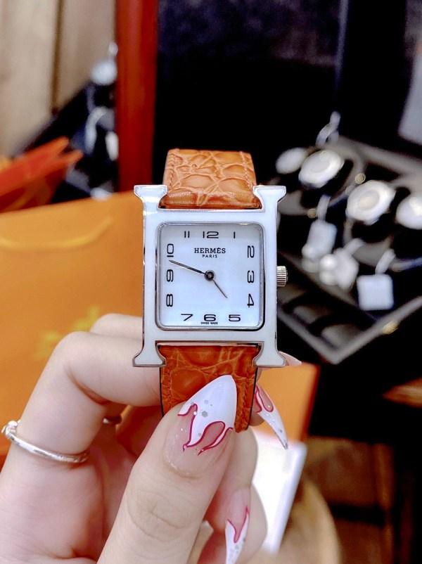 Đồng hồ Hermes nữ dây da màu cam