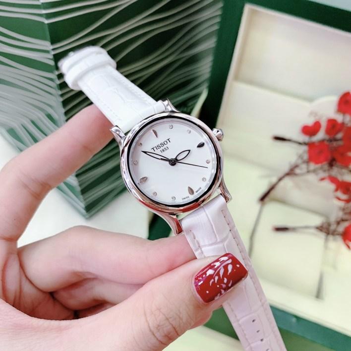 Đồng hồ Tissot nữ dây da màu trắng