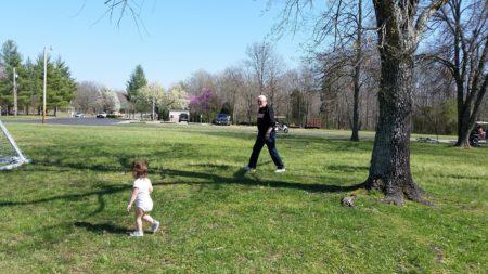 Grandpa chasing Maddie.
