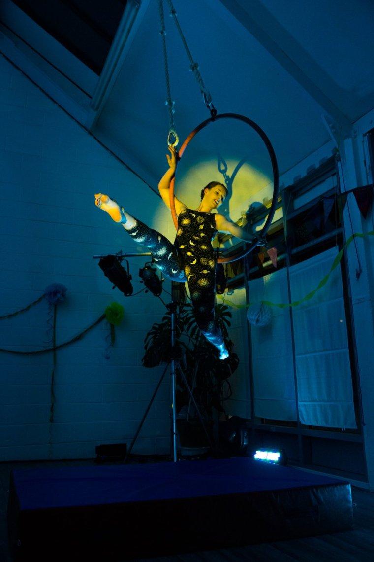 Rosalia Pilsworth on aerial hoop at Circus Hub Nottingham first birthday