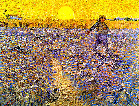 """""""Sower with Setting Sun"""" by Vincent Van Gogh, 1888 (Netherlands)"""