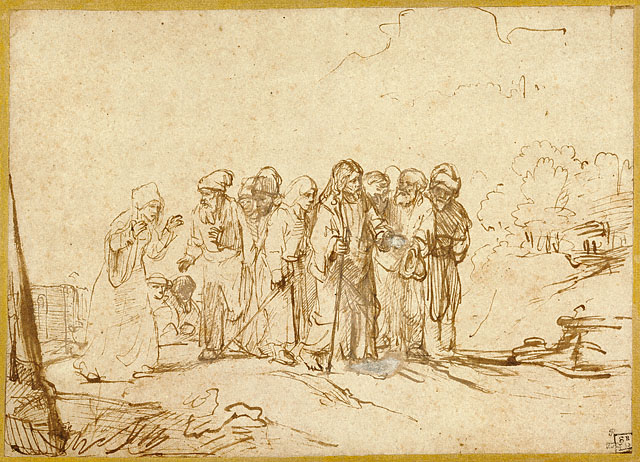 """""""Christ and the Canaanite Woman""""  by Rembrandt, 1650 (The Getty Museum, Los Angeles)"""