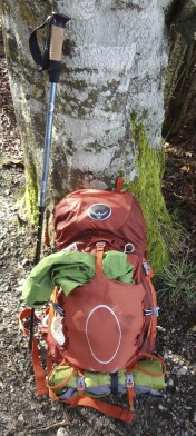 My awesome Osprey pack and trekking pole!