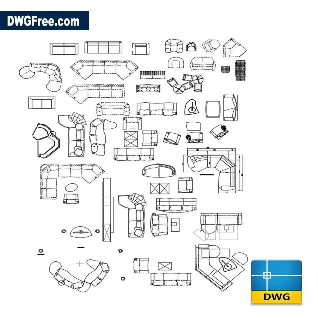 Living Room Furniture Dwg