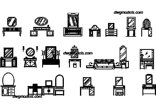 Dressing Tables DWG Free CAD Blocks Download