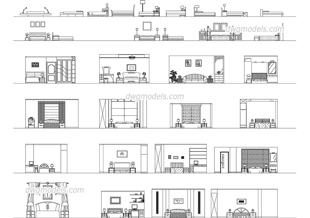 Bedroom Front View DWG Free CAD Blocks Download