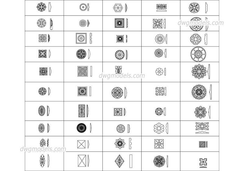Decorative Wall Ceiling Elements Cad Blocks Free