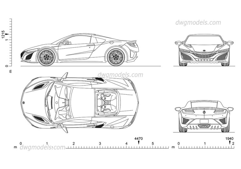 Acura NSX 2D AutoCAD model, CAD blocks download, car with ...