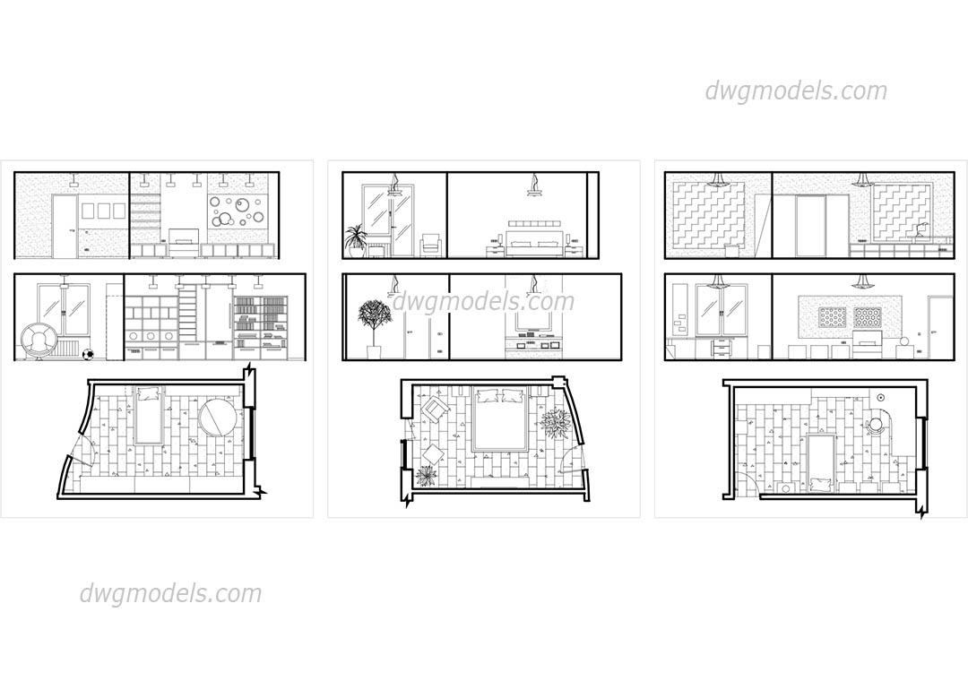 bedroom plans and elevations free cad