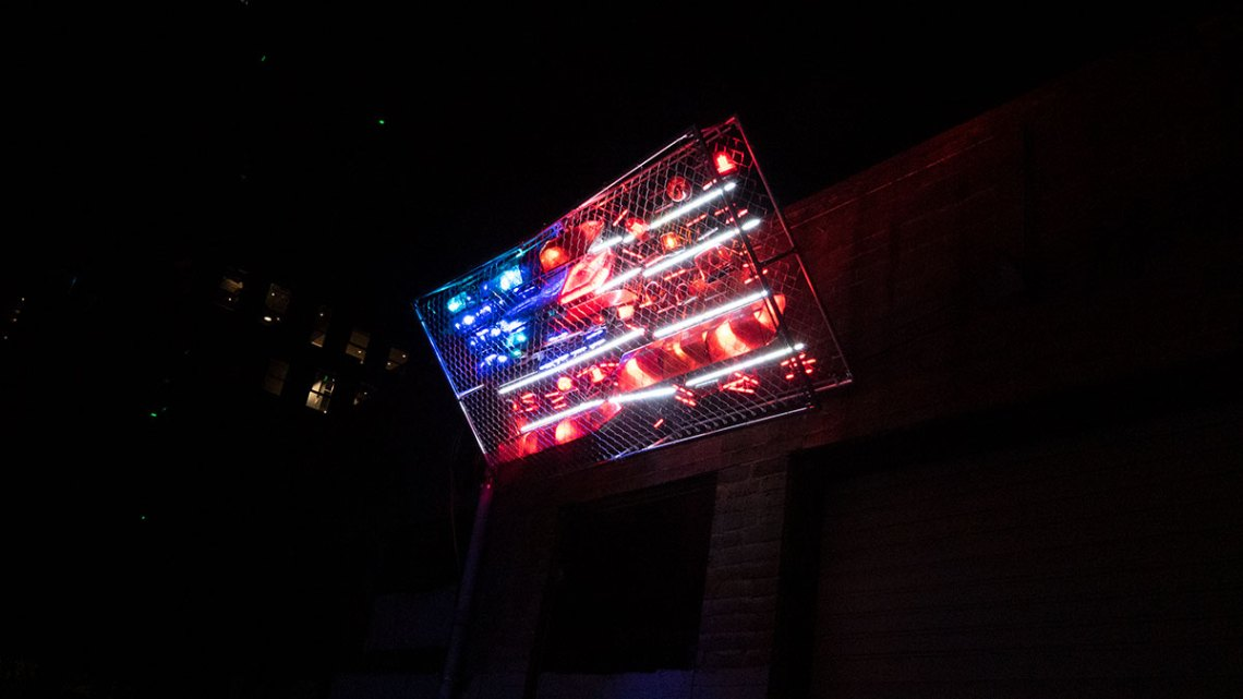 Installation view from side, part of BOREALIS festival of light