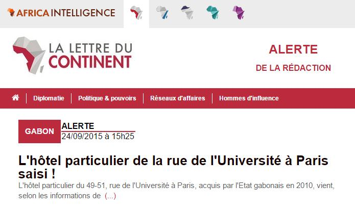France-Gabon : L'hôtel particulier de la rue de l'Université à Paris saisi !