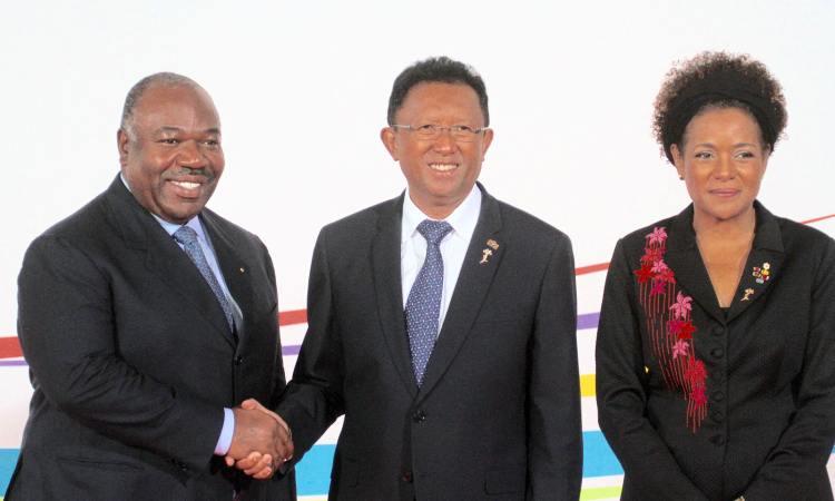 Président du Gabon Ali Bongo Ondimba –Michaëlle Jean la Présidente de l'Organisation Internationale de la Francophonie et le Président Malgache RAJAONAR - Madagascar : Ali Bongo Ondimba à la cérémonie d'ouverture du 16ème Sommet de la Francophonie