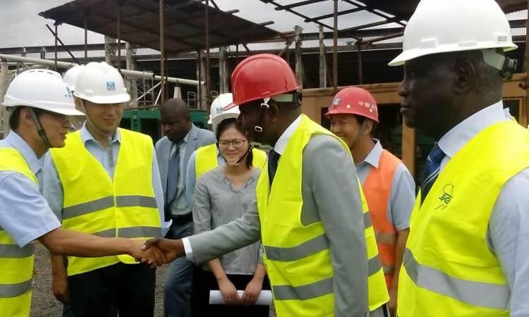 arton39349 - CAN de handball Gabon 2018/Handball/Visite de chantier : Mathias Otounga Ossibadjouo au Palais des Sports