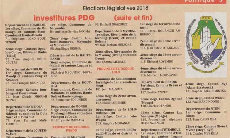 pdg3 - Politique -Législatives 2018 : Liste officielle des candidats PDG