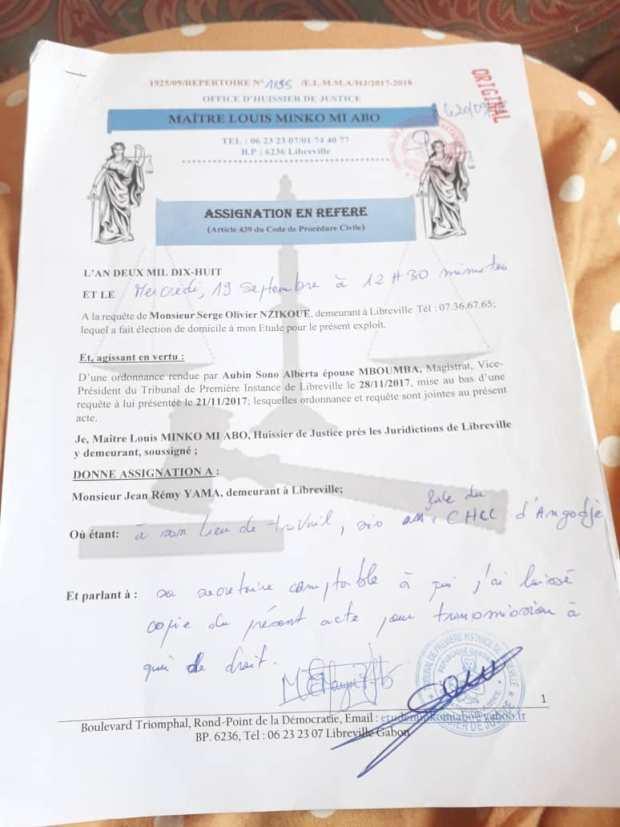 GABON/SCI-SERPENTIN/Plainte Jean Remy YAMA contre AMDB : Parlons-en !