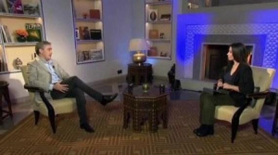 Marwan Ben Yahmed sur le plateau d'une télévision marocaine. D. R