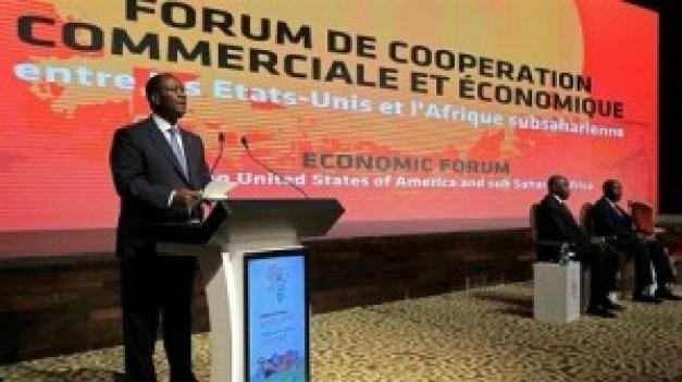 Le président ivoirien, Alassane Ouattara, lors de la cérémonie d'ouverture de l'AGOA