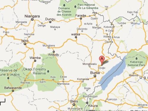 En rouge (A), le territoire de Djugu dans le disctrict de l'Ituri, province Orientale (RDC).