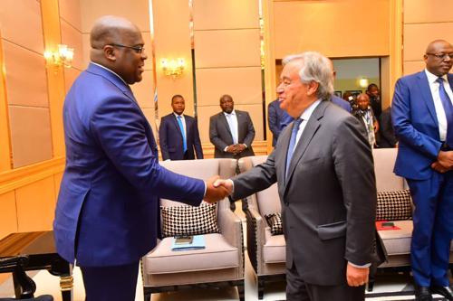 Le Secrétaire général de l'ONU, Antonio Guterres s'est entretenu lundi 2 septembre à Kinshasa avec le président de la RDC, Félix Tshisekedi. Radio Okapi/Photo John Bompengo.