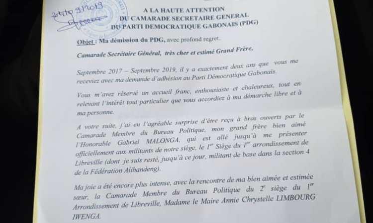 Gabon /Politique : Alexandre Désiré Tapoyo annonce son départ du Parti Démocratique Gabonais (PDG)