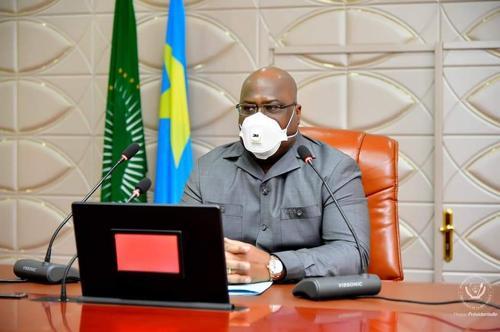 Felix Tshisekedi lors de la reunion sur la riposte contre la pandémie de Coronavirus en RDC a la cite de l' UA, le 5/5/2020 Photo presse presidentielle