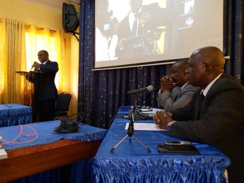 Les avocats des parties civiles à la conférence de presse avec les veuves Chebeya & Bazana et la FIDH par visioconférence jeudi 29/10/2020 Kinshasa. Radio Okapi/Ph. Jeff Ngoy<br />