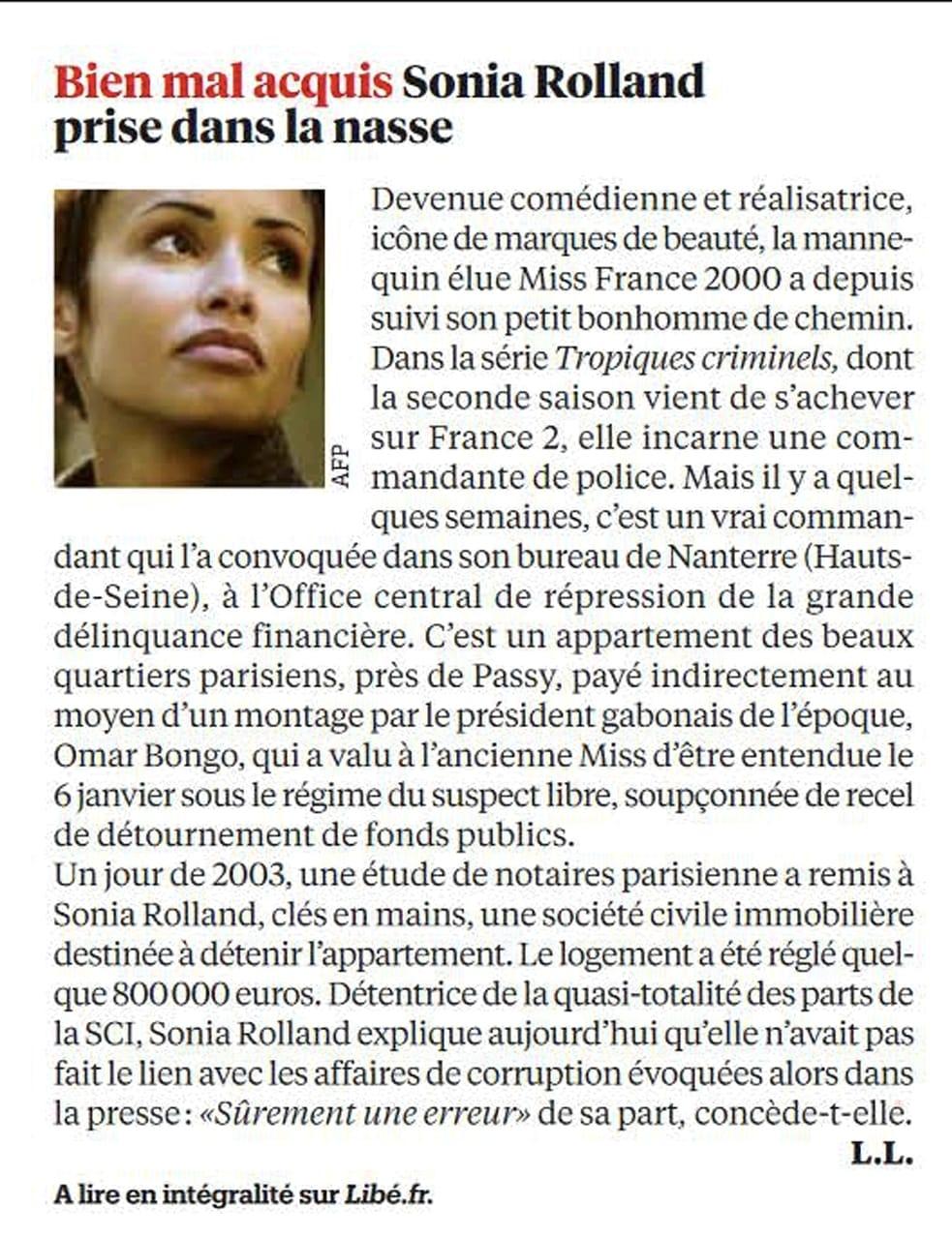 """Enquête de Libération   """"le Gabon régale"""" : Sonia Rolland bénéficiaire"""
