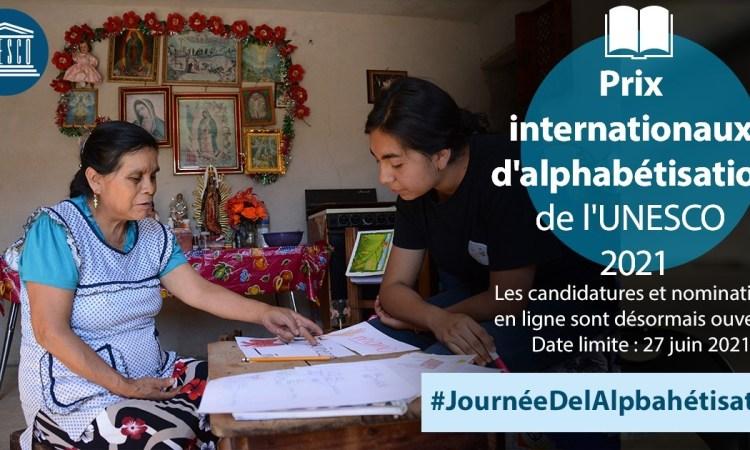 Appel à candidatures – 'Prix internationaux d'alphabétisation de l'UNESCO 2021'
