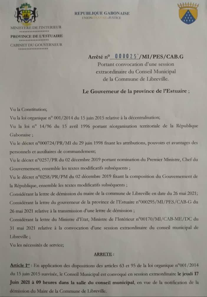 Démission du Maire de Libreville - arrêté n°00025/MI/PES/CAB-G, en date du 1er juin 2021.