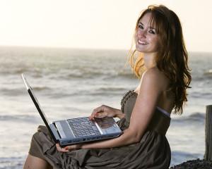 Happy Girl on computer