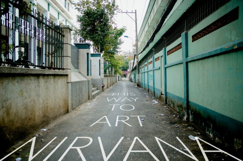 Ally way leading to art stores in Binh Thanh