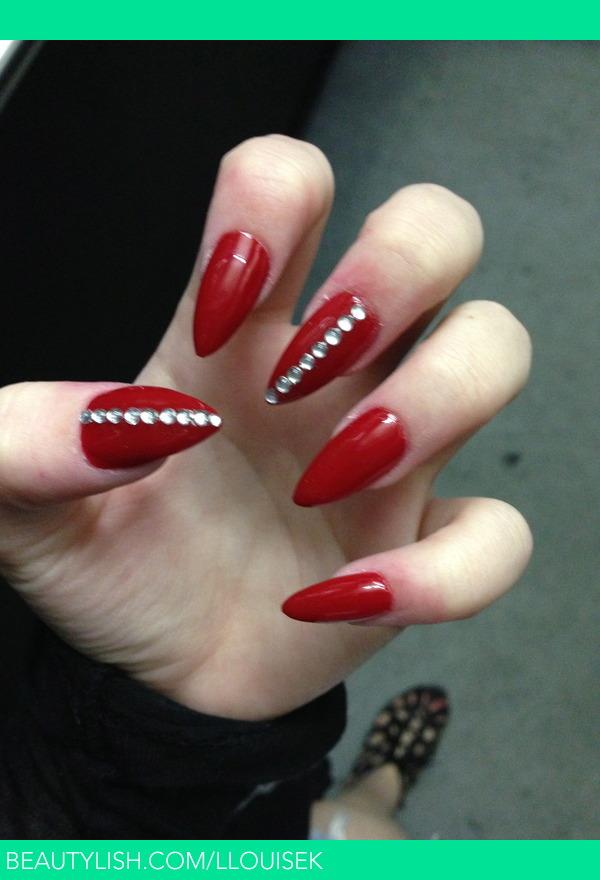 Stiletto Red Diamond Nails Claire Louise Ds Llouisek