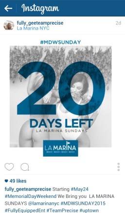 Instagram post promoting Memorial Day 2015 event at La Marina.