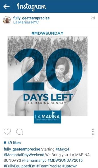 Instagram post promoting Memorial Day 2015 event at La Marina.