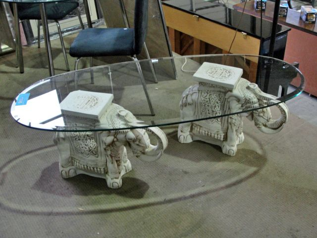 ceramic elephant pedastol glass top coffee table