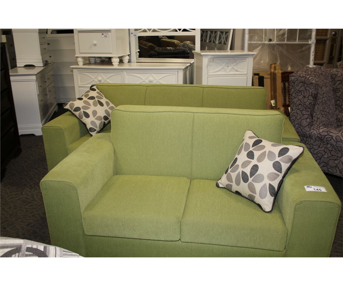 Lime Green Sofa And Loveseat Set With 2 Throw Cushions