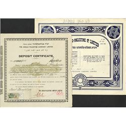 Anglo Palestine Company Ltd Stock Certificate And Deposit