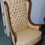 Vintage Tall Wingback Chair With Button Tufted Gold Upholstery